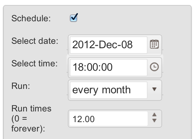 SMSify Scheduling options