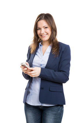 Woman Smiling while receiving an SMS